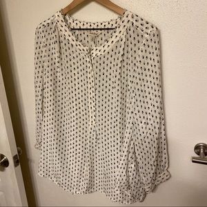Lucky Brand Silk Half button Blouse